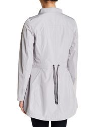 Laundry by Shelli Segal | Gray Hooded Cinch Zip Raincoat | Lyst