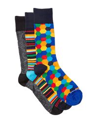 Unsimply Stitched - Blue Combo Socks - Pack Of 3 for Men - Lyst