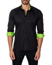 Unsimply Stitched Black Long Sleeve Contrast Trim Trim Fit Woven Shirt for men