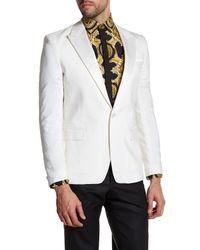 Versace - White Sharkskin Single Button Peak Lapel Trim Fit Blazer for Men - Lyst