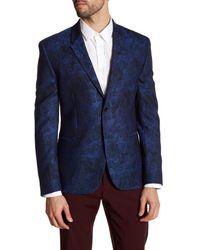 Versace | Blue Notch Lapel Two Button Print Wool Sportcoat for Men | Lyst