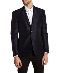 Versace | Blue Black Geo Two Button Notch Lapel Trim Fit Jacket for Men | Lyst