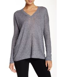 VINCE | Gray Long Sleeve V-neck Sweater | Lyst