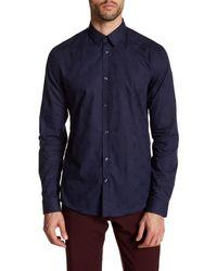 Versace | Blue Woven Long Sleeve Trim Fit Shirt for Men | Lyst