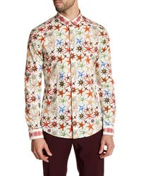 Versace | White Long Sleeve Starfish Print Trim Fit Woven Shirt for Men | Lyst