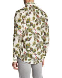 Versace | Green Long Sleeve Print Trim Fit Woven Shirt for Men | Lyst