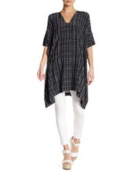 VINCE | Black Interlace Printed V-neck Silk Tunic | Lyst