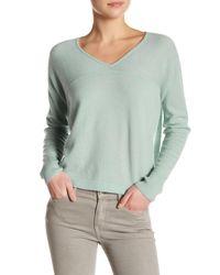VINCE   Green Long Sleeve V-neck Cashmere Pullover   Lyst
