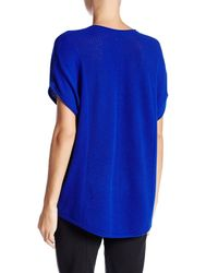 Vince - Blue Cap Sleeve Chevron Stitch V-neck Cashmere Sweater - Lyst