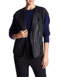 VINCE | Black Perforated Lamb Leather Cap Sleeve Jacket | Lyst