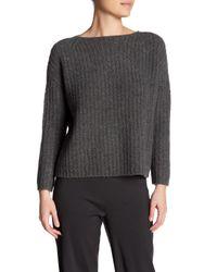 VINCE | Gray Ladder Stitch Cashmere Blend Sweater | Lyst