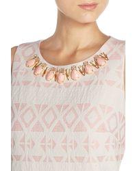 Vince Camuto - Pink Embellished Jacquard Shift Dress - Lyst
