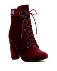 Catherine Malandrino Red Burgundy Veeanca Velvet Lace-Up Booties