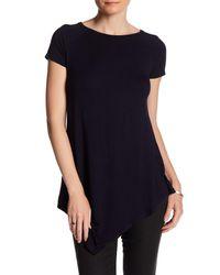 Joan Vass Blue Raglan Short Sleeve Asymmetrical Tunic