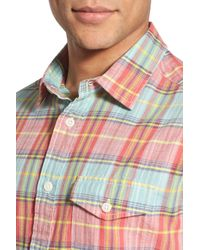Grayers - Multicolor 'sandhurst' Regular Fit Plaid Slub Poplin Short Sleeve Woven Shirt for Men - Lyst