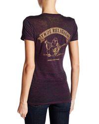 True Religion - Purple Burnout Knit Metallic Logo V-neck Tee - Lyst