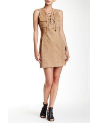 W118 by Walter Baker Natural Ellie Genuine Suede Dress