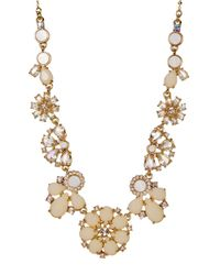 kate spade new york | Metallic Gold Plated Rhinestone Flower Frontal Necklace | Lyst