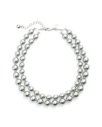 kate spade new york - Metallic Double Strand Faux Pearl Necklace - Lyst