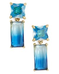 kate spade new york - Blue Gold Plated Drop Baguette Cut Crystal Stud Earrings - Lyst