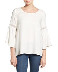 Pleione White Lace Inset Bell Sleeve Blouse