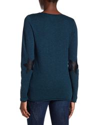Zadig & Voltaire - Blue Nosfa Genuine Leather Elbow Patch Wool Blend Sweater - Lyst