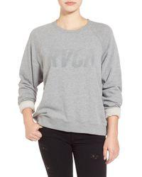 RVCA - Gray Jagged Tonal Logo Sweatshirt - Lyst