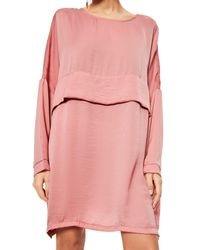 Missguided - Pink Oversized Satin Shift Dress - Lyst