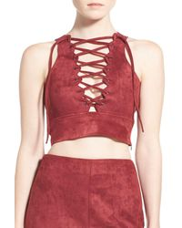 Missguided - Red Lace-up Faux Suede Crop Top - Lyst