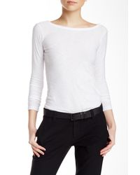 James Perse | White Scoop Back Long Sleeve Tee | Lyst