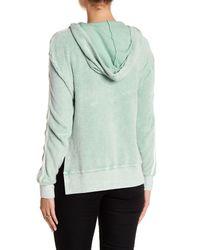 Pam & Gela - Green V-neck Split Side Hoodie - Lyst