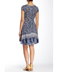 Angie - Blue Short Sleeve Printed Dress - Lyst