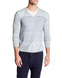 Autumn Cashmere - Blue Striped V-neck Shirt for Men - Lyst