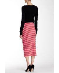 Sanctuary - Red Midi Striped Pencil Skirt - Lyst