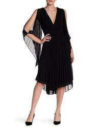 Do+Be Collection - Black V-neck Pleated Midi Dress - Lyst