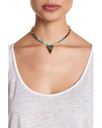 Panacea | Green Beaded Gilded Abalone Shell Pendant Choker Necklace | Lyst