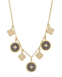 Freida Rothman - Metallic 14k Gold Plated Sterling Silver Cz Pave Clover Fringe Necklace - Lyst