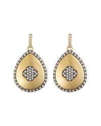 Freida Rothman | Metallic Pavé Clover Teardrop Earrings | Lyst
