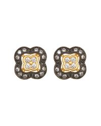 Freida Rothman - Metallic Two-tone Pave Cz Clover Stud Earrings - Lyst