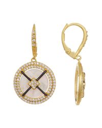Freida Rothman   Metallic 14k Gold Plated Sterling Silver Crisscross Mother Of Pearl Cz Pave Halo Earrings   Lyst