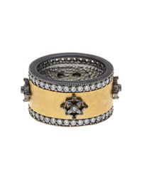 Freida Rothman - Metallic 14k Gold Plated Sterling Silver Cz Pave Signature Cigar Band Ring - Size 6 - Lyst