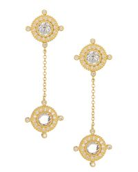 Freida Rothman - Metallic 14k Gold Plated Sterling Silver Cz Double Compass Drop Earrings - Lyst