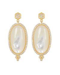Freida Rothman - Metallic Framed Oval Mother Of Pearl & Cz Drop Earrings - Lyst