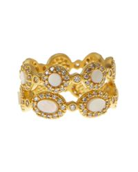 Freida Rothman - Metallic 14k Gold Plated Sterling Silver Cz Framed Mother Of Pearl Mixed Shapes Ring Set - Set Of 2 - Lyst