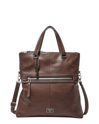 Fossil | Brown Dawson Leather Foldover Tote | Lyst
