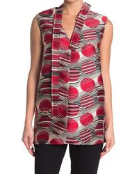 RED Valentino Red Circle Tie Neck Top