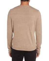 Calibrate - Brown Merino Blend Crewneck Sweater for Men - Lyst