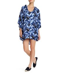 Mikoh Swimwear Blue Cardiff Hooded Caftan Cover Up