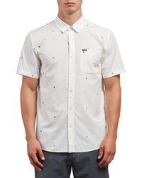 Volcom White Bleeker Short Sleeve Button Up Shirt for men