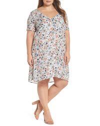 Glamorous White Flower Short Sleeve V-neck Dress